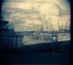 mystery.bay (puja) Tags: film topf25 mediumformat holga doubleexposure ships 120film lunchbreak guesswhereseattle seattleunguessed epsonperfection3170 tenpositive