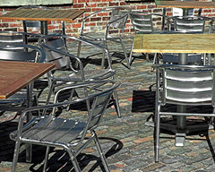 the secret social life of chairs (L_) Tags: wood toronto ontario canada brick metal bar silver restaurant shiny floor chairs patio tables distillery
