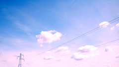 Higher, today (pierofix) Tags: pink blue sky clouds nuvole blu rosa cielo 169 udine cavi traliccio