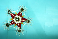 tala (Farl) Tags: travel blue heritage church colors lights star islands catholic shadows faith philippines religion north ceiling chandelier pentagram simbahan tradition tala batanes sancarlosborromeo batan bituin mahatao