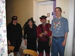 Two Robbers, a Pritate, and a Wheat Port (jceddy) Tags: 2005 costumes halloween tim deena sandi siedler darrel