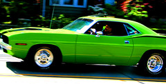 bitchin' (JKnig) Tags: reflection green car photoshop bitchincamaro shalliputitontheunderhillaccountseor thoughimnotsurethisisacamaro ithinkcarsaresexy doesthatmakemeabadperson 1973plymouthbarracuda