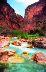 Grand Canyon, Havasupai Reservation (etravus) Tags: girls light shadow vacation arizona orange mountain holiday west green history film feet nature beautiful silver landscape waterfall interestingness jump colorful flickr tour natural grandcanyon floating sunny babe rafting honey journey travis powell emerald lifejacket drifting chocholate travisprice etravus grandcanyonadventure grandcanyonexpeditionscompany
