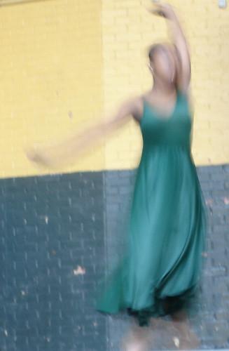 Blurred Dancer in Green Dress