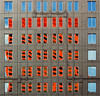 Rhapsody in Orange, Red and Blue (Flipped Out) Tags: windows chicago reflection illinois topf50 topf75 bravo gbrearview topv3333 chicagoillinois cna interestingness113 i500 scoreme41 nikonstunninggallery explore14may06