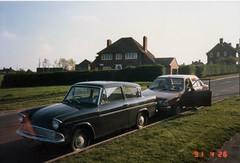 Anglia, Belle Isle, Leeds, April 26th 1991. (Eleventh Earl of Mar) Tags: school ma grandmother leeds mother renault grandson mum belleisle westyorkshire fordanglia