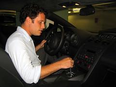 Pretending to drive Karl Muth's Lamborghini, Chicago, Sept. 2004