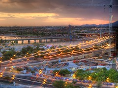 Tempe Arizona (Videoal) Tags: city sunset arizona mountains cars phoenix night clouds lights interestingness construction crane bridges explore vehicles townlake trucks hdr tempe jesters twinbridges tempeaz tophdr uprrbridge diamondclassphotographer flickrdiamond