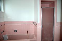 pinky (Thom Watson) Tags: california pink house tile bathroom shower westlake chrome tub 50s dalycity midcentury doelger