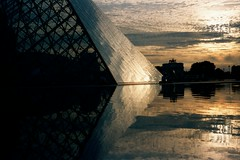 Reflection, Louvre (Yersinia) Tags: november paris france reflection film public landscape geotagged europe eu safe visit75001 elsewhere sunriseandsunset faved top50 parisset ccnc photographical yersinia guessnot parispool christmasmm pariscalendar mmsandysfaves