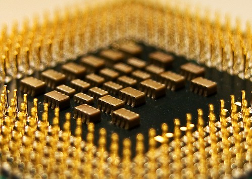 closeup of CPU chip