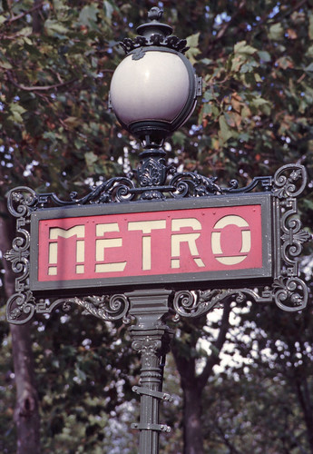 paris metro sign. Metro sign, Paris. Taken with Canon A1, around 2001, probably with FD 35-105