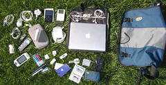 What's in your bag? (alexanderwrege) Tags: powerbook ipod sidekick2 whatsinyourbag isight timbuk2 whatsinmybag ibuprofen ipodvideo