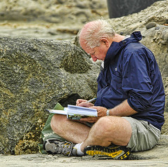 a long healthy life (Worker101) Tags: people man beach writing elder