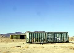 Pair of Abandonded Boxcars (See El Photo) Tags: ca old summer sky 15fav hot car graffiti sand desert pair tag sandy bluesky tagged dirt abandonded boxcar oldcar gaffiti broke brokedown middleofnowhere 1f gaff faved oldboxcar
