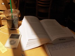 story of my life (superfluous consonants) Tags: light coffee shop writing notebook lost book paradise ipod starbucks studying