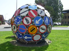"""The Magic Roundabout"", Cardiff (Richard and Gill) Tags: sculpture sign wales cool roundabout cardiff streetsigns roadsigns welsh magicroundabout trafficsigns vivant pierrevivant deadstreetsigns"