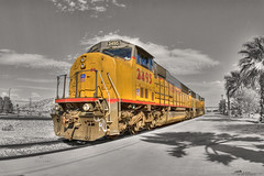 Just Playing With Color - The HDR Version (_Allen_) Tags: railroad train geotagged desert diesel palmsprings unionpacific locomotive hdr getilt0 califrornia gerange1000 2495 geolat33897723 geolon116548017