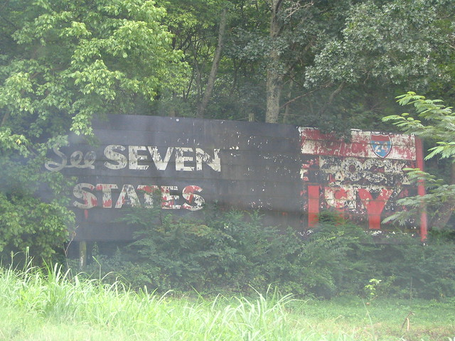 Old Rock City painted wooden billboard