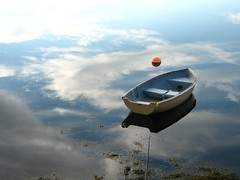 Sky Boat (photo fiddler) Tags: sky canada reflection topf25 water june topv111 clouds bay boat novascotia nottobeusedwithoutmypermission