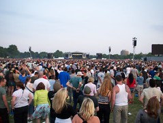 The big crowd watching the Foo Fighters