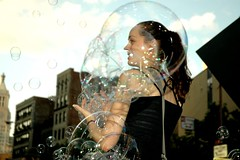 Bubble Battle: Bubble Girl (LarimdaME) Tags: nyc cooperunion cube bubble alamo newmindspace bubblebattle hipstersatplay