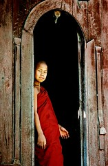 Malicious Monk (nicointhebus (nicolas monnot)) Tags: travel portrait people travelling 2004 face kid asia southeastasia burma buddhist religion monk buddhism monastery myanmar inle shan birmanie nyaungshwe nicointhebus fivestarsgallery fsgchildhood