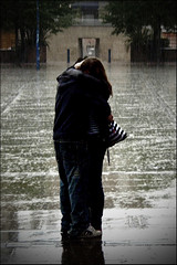 Couple in the rain (Remaster 2) (orangeacid) Tags: people rain hugging kiss couple emo kai romantic derby teenlove kissintherain