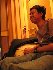 from his smile would you know he has a migraine? (grouchiosa) Tags: studio indonesia la couple jakarta bandung pendulum voila aksara june2006
