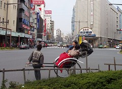 rickshaw waiting at traffic lights! (michenv) Tags: 2003 japan digital asia michelle olympus  nippon digitalcamera asakusa orient rickshaw camedia nihon  digitalphotos digitalphotography olympuscamedia camediaseries osanpocamera  photosfromtokyo  olympusdigital olympusc50z michenv olympusx2 japanthroughtheeyesofothers michenv2003