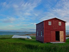 Red Shed (Mark Veitch) Tags: ocean door wood blue camping windows red sea sky green water grass tag3 taggedout barn newfoundland boats bay boat tag2 tag1 shed atlantic 123ac