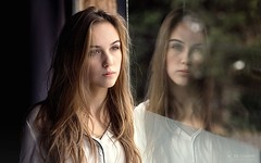 Capucine (Studio Hors-champ) Tags: girl window reflet reflection reflections light architecture beautiful color beauty white model