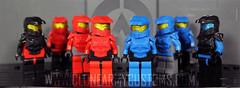 Red And Blue Orbital Armor (CloneArmyCustoms) Tags: blue 2 3 trooper gold 1 lego lock 5 metallic chief 4 helmet halo drop master armor orbital shock vs reach minifig locke visor odst