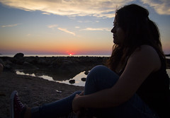 End of the day (Rigby91) Tags: sunset sea italy sun love girl rock seaside twilight sand mediterranean converse promenade end romantic sicily bluehour endoftheday italiangirl barcarello