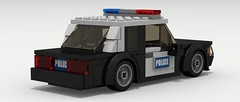 Ford Mustang Police (rear view) (Tom.Netherton1) Tags: city classic cars ford car digital america vintage lego body pov designer muscle police indoor pony american fox cop legos download vehicle mustang 1980s coupe cruiser v8 1990s dropbox povray ldd 2door lxf