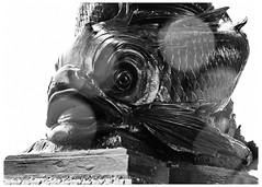 Street Light Base on the banks of the River Thames (swanksalot) Tags: blackandwhite bw sculpture london streetlight dolphin publicart lightpost
