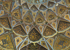 Ceiling With Its Intricate And Elaborate Patterns In Behesht Palace, Isfahan Province, Isfahan, Iran (Eric Lafforgue) Tags: travel building art horizontal architecture photography persian asia iran 17thcentury persia nobody nopeople palace indoors ornament oriental orient esfahan isfahan destinations hashtbehesht 1660s ispahan hasht إيران иран colourimage イラン irão isfahanprovince 伊朗 sepahan spadana 이란 hispahan iran150971