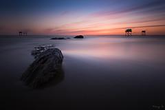 The Meeting IV (Tony N.) Tags: blue sunset sky orange france beach clouds rocks europe horizon trails meeting atlantic bleu ciel nuages loire plage runion coucherdesoleil manfrotto atlantique loireatlantique carrelets d810 nd110 tonyn phottix nikkor1635f4 laroussellerie tonynunkovics