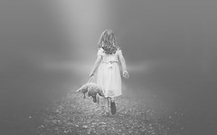 Into the light (Wojtek Piatek) Tags: park ireland portrait blackandwhite dublin mist blur girl fog puppy walking death mono alone dof child plush shallow portret matte dziewczynka dziecko intothelight zeiss135 sonya99