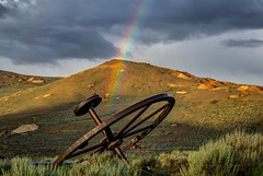 Rainbow and Bullwheel (Jeffrey Sullivan) Tags: rainbow bullwheel bodie state historic park american ghost town wild west mining bridgeport eastern sierra california united states usa canon 5d mark iii photo copyright 2015 jeff sullivan july abandoned rural decay mono county stormy weather