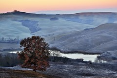 Landescape -  tuscany (Isabella A) Tags: crete tree lake water frost toscana italy hills sunrise grey landescape tuscany orange tones view outdoor winter