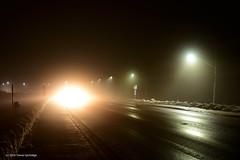 Ice Fog (Trevdog67) Tags: icefog fog december canada moncton newbrunswick nouveaubrunswick ryanroad street night lights road sidewalk vanishingpoint oncomingcar nikon d7100 nikkor 18300mm 2016