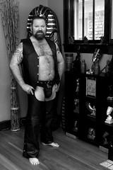 DSC_4818VentChapsCodPieceBW4x6 (Mike WMB) Tags: bear vest leather codpiece chaps beard