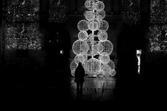 By looking at the lights (pascalcolin1) Tags: paris13 nuit night lumières lights noel christmas sapin femme woman photoderue streetview urbanarte noiretblanc blackandwhite photopascalcolin