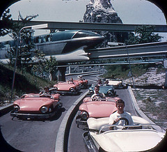 Tomorrowland Reel 2, #3a - Monorail Crosses the Autopia Freeways (Tom Simpson) Tags: viewmaster slide vintage disney disneyland 1960s vintagedisney vintagedisneyland