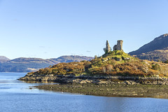 Caisteal Maol (Kev Gregory (General)) Tags: wonderful reflections abound across waters west haven isle skye with ruins caisteal maol once mackinnon clan stronghold still looking out over kyle akin that they built defend many years ago coast kev gregory holiday tour canon 7d