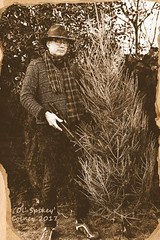 22 of 365 2017 The Capture of Ol' Spikey (Rob Johnstone) Tags: middle aged man 365 self portrait project ol spikey sepia christmas tree gun air rifle hunter hunt
