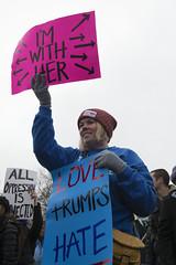 Women marching against Donald Trump (Fibonacci Blue) Tags: stpaul protest march woman women demonstration event dissent feminism outcry feminist activism outrage twincities activist minnesota trump republican sign gop love hate liberal