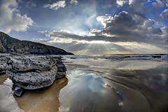 The everlasting gaze (pauldunn52) Tags: southerndown witches point rock pool reflection glamorgan heritage coast wales sky rays wet sand