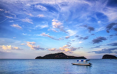 Evening . . (grantthai) Tags: pink blue sunset seascape beach water clouds reflections thailand islands evening boat nationalpark thai mooring beached serene drama moored dolphinbay samroiyot samroiyod